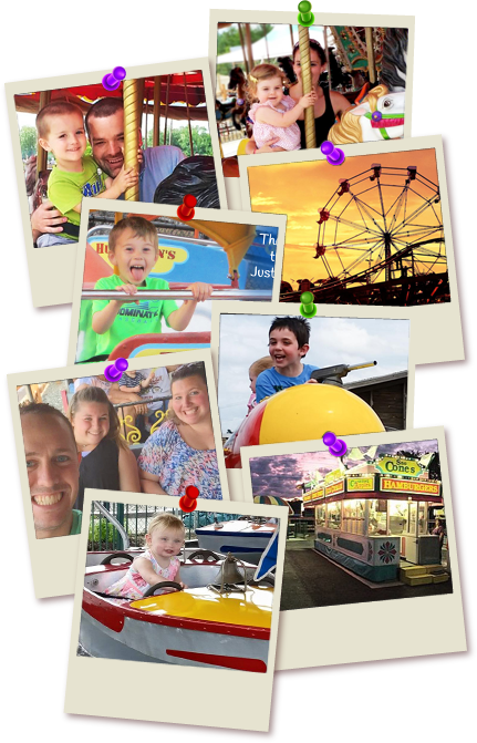 Collage of polaroids depicting happy customers at Huck Finn's Playland